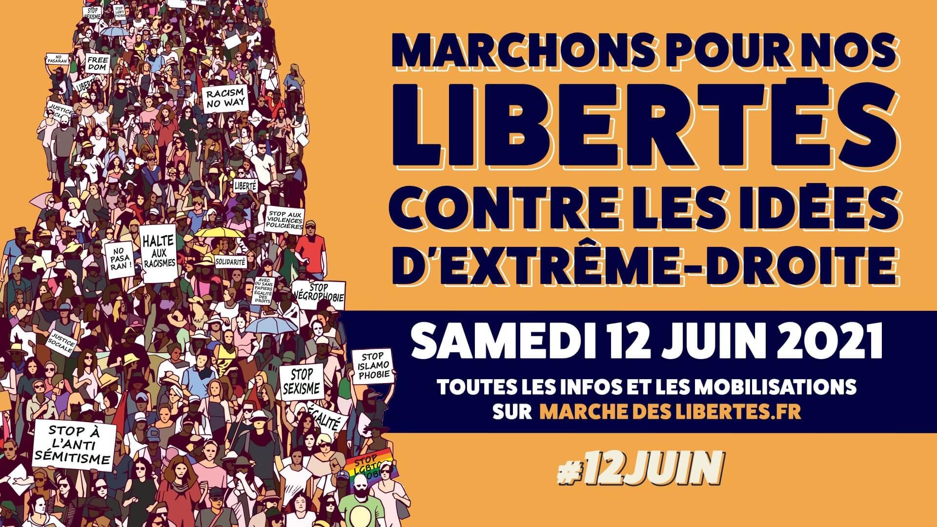 Visuel Samedi 12 juin : marchons pour nos libertés, contre les idées d'extrême-droite !